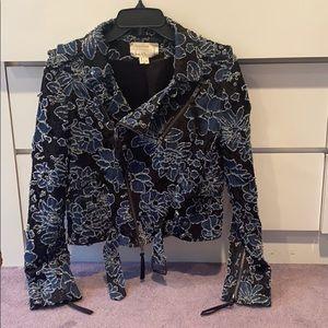 "Nicole Miller blue/black ""Moto Lace"" jacket"